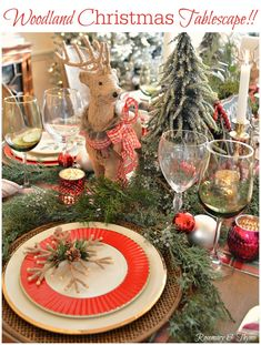 A good morning ro you. Today is my rurn to share my Woodland themed holiday table for Chloe's Christmas Table Settings, Christmas Tablescapes, Christmas Tree Themes, Holiday Tables, Xmas Decorations, Christmas Centerpieces, Lenox Christmas, Woodland Christmas, Rustic Christmas