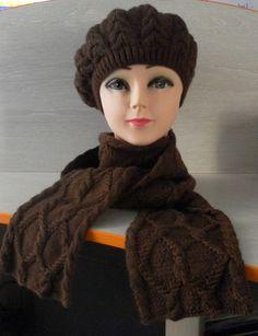 БЕРЕТ С ШАРФОМ Beret, Knitted Hats, Winter Hats, Knitting, Tejidos, Tricot, Knit Caps, Breien, Weaving