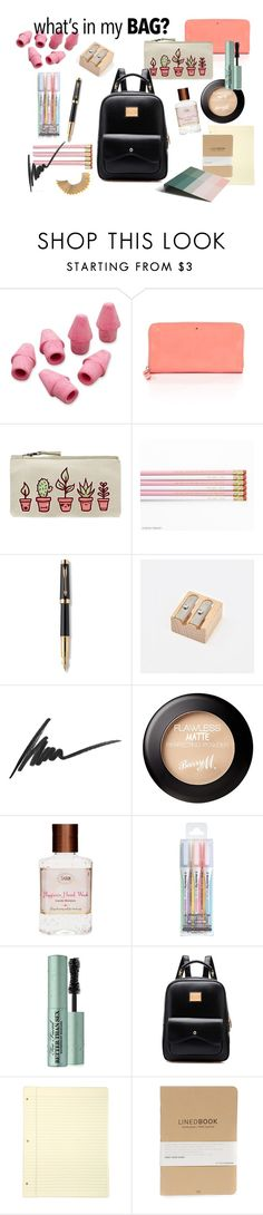 """What's in my backpack"" by estelled23 ❤ liked on Polyvore featuring Paper Mate, Kate Spade, Parker, Max Factor, Too Faced Cosmetics, HAY, BackToSchool, school, backpack and WhatsInMyBag"