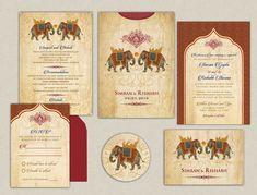 Items similar to The Mangla Elephant Collection - Indian Wedding Invitations - An Ethnic Elephant Pocket to hold the ensemble on Etsy Indian Wedding Invitation Cards, Floral Wedding Invitations, Wedding Cards, Elephant Illustration, Communion Invitations, Invitation Set, Invites, Reception Card