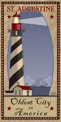 """""""St. Augustine Lighthouse Travel Poster"""" Re-Pinned by St Augustine Ford Dealership Bozard Ford Lincoln, named 2014 Dealer of the Year by DealerRater based on customer reviews. http://www.bozardford.com"""