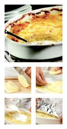 Comment faire un #gratin de #pommes de terre en 4 étapes? GRATIN DAUPHINOIS (creme + lait)