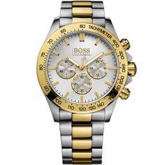 Hugo Boss Hb 1512960 Ikon Chrono Montre Hommes Bicolore Couleur or Argent Neuf Hugo Boss Watches, Watches For Men, Wrist Watches, Men's Watches, Gold Watches, Brown Leather Watch, Color Dorado, Bracelets For Men, Quartz Watch