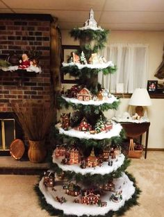 Weihnachten Want to make your own Christmas tree show your Christmas village. After purchasing, send Christmas Tree Village Display, Creative Christmas Trees, Christmas Villages, Xmas Tree, Christmas Tree Decorations, Christmas Tree Table, Ornament Display Tree, Christmas Village Collections, Hanging Christmas Tree
