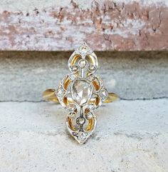 Antique Victorian Rose Cut Diamond Engagement Ring  Victorian