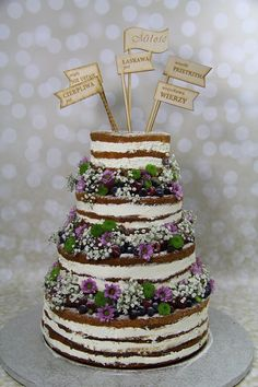 Rustic Wedding Cake | Naked Cake | Cake Topper | baccate.pl