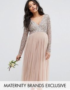 Maya Maternity | Maya Maternity Long Sleeve Midi Dress With Delicate Sequin And Tulle Skirt