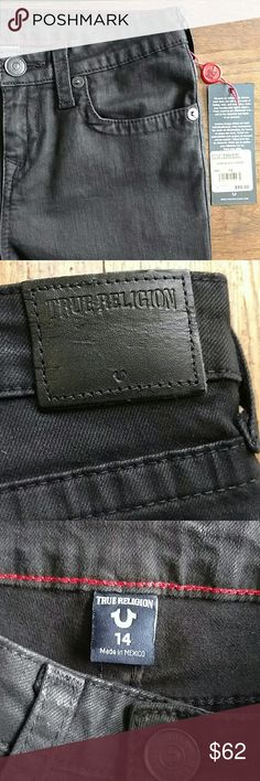 NWT True Religion Black Coated Jeans Boys Sz 14 NWT True Religion black boys jeans.  Size 14 Geno Black Coated Cotton Spandex  Waist 27 Inseam 28 in. Excellent condition.  New with tags. Smoke and Pet free environment.  No trades. True Religion Bottoms Jeans