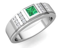 mens emerald rings - Google Search