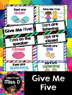 This pack includes 3 different displays to use to remind your students about good listening.  1) Rectangular posters for each body part (eyes, ears, mouth, hands and feet) 2) Poster pointing to the body parts 3) Rectangular cards (ideal for the older grades)