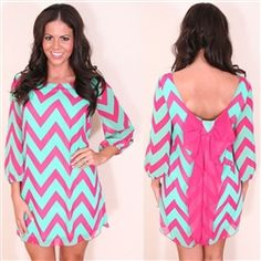 fuchsia and mint chevron print dress with bow back detail. can't get enough of this dress!