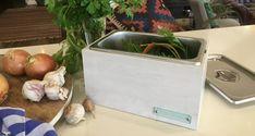 whitewash kitchen green bin