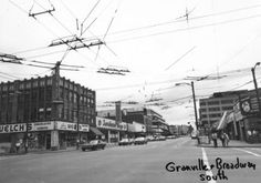 Granville [Street] and Broadway [looking] south - City of Vancouver Archives Granville Street, Vancouver City, Historical Photos, Broadway, The Past, Archive, Photograph, Street View, History