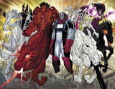 Всадники Апокалипсиса, Марвел, X-men, Комиксы, Чума, Война, Мор, Смерть
