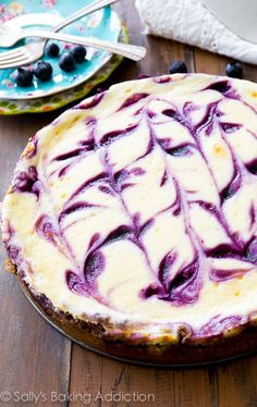 Blueberry Swirl Cheesecakecountryliving