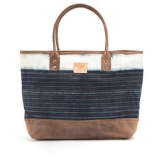 Will Leather Goods 'Indigo Batik' Cotton Canvas Tote ($265) ❤ liked on Polyvore featuring bags, handbags, tote bags, assorted indigo, carryall tote, will leather goods, handbags tote bags, tote handbags and man bag