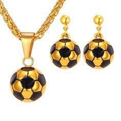 Soccer Football Necklace Set For Women Sport Lover Stainless Steel Pendant Necklace & Earrings Gold Color Jewelry Sets Halifax West Yorkshire, Necklace Set, Gold Necklace, Pendant Necklace, Gold Plated Necklace, Dangle Earrings, Football Necklace, Soccer Accessories, Black Gold Jewelry