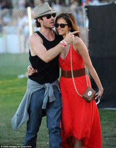 Nina Dobrev...red maxi dress with belt great summer style