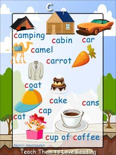 c sound - FREE PRINTABLE phonics poster for auditory discrimination, sound studies, vocabulary and classroom reference.