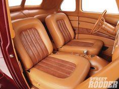 "2013 Ridler Award Winner - Ron & Deb Cizek – 1940 Ford ""Checkered Past"" Chevy Pickups, Chevy Trucks, Custom Car Interior, Car Upholstery, Car Interiors, Dashboards, Award Winner, Kustom, Custom Cars"