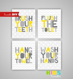 Printable DIY Kids Bathroom Art, Yellow and Grey, Brush, Flush, Hang, Wash, Set of 4, 8x10 JPG files ( 008styg )