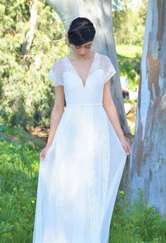 Romantic wedding dress with lace top and chiffon by thebride2b