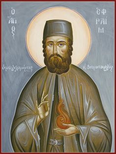 'St Ephraim of Nea Makri' by ikonographics Byzantine Icons, Byzantine Art, Religion, Religious Icons, Orthodox Icons, Ancient Greece, Christianity, Saints, Painting