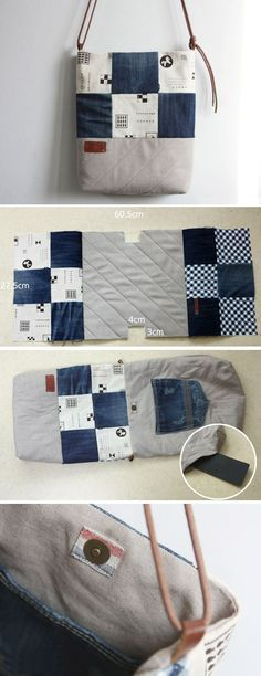 Denim Bag Tutorial DIY Denim Bag Made with Recycled Jeans. ~ Step by step illustration sew tutorial.DIY Denim Bag Made with Recycled Jeans. ~ Step by step illustration sew tutorial. Patchwork Bags, Quilted Bag, Purse Patterns, Sewing Patterns, Denim Bag Patterns, Tote Pattern, Sew Pattern, Patchwork Patterns, Denim Bag Tutorial