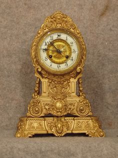 "Cast spelter ""Valley"" mantel clock"