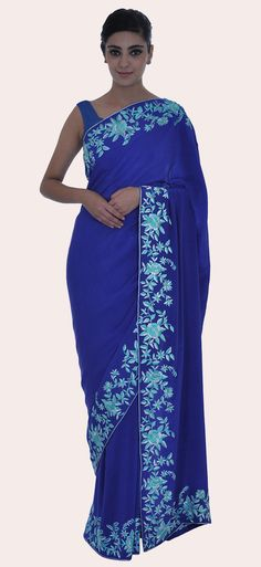 Royal Blue- Turquoise Parsi Gara Hand Embroidered Pure Crepe Saree