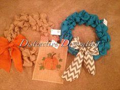 burlap wreaths & flags custom made