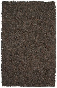 Pelle Leather Dark Brown Area Rug