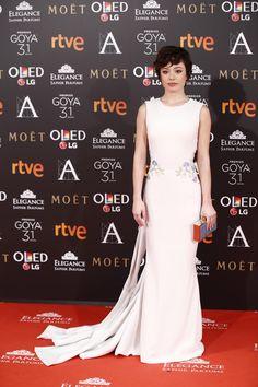 Anna Castillo Con vestido de Georges Hobeika Couture, joyas de Suárez y zapatos de Jimmy Choo. - goya 2017