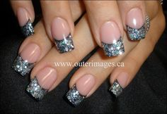 Black and silver glitter tips! Love!