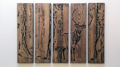 Extra Large Engraved Handcrafted Dark Oak Stag Wall Art from Bramble Signs