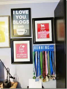 What a great way to display running medals!