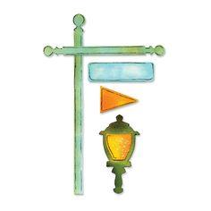 Troquel Sizzix Sizzlits - Asta de bandera con lámpara y señal