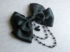 Goth Hair clip or Brooch black bow with black by LittleBanshees