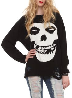 Black knit sweater from the Misfits with intarsia knit Fiend Skull design and destroyed accents.