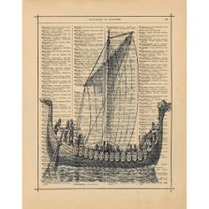 Vintage Viking Long Ship Antique Book Page Art Print Home Decor Wall Decor 8x10