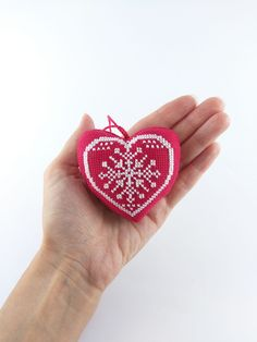 Christmas decorations Christmas decor diy christmas gifts Red heart ornament Christmas tree heart Cross stitch toy Cross stitch heart Embroidery snowflake ornament Snowflake decoration Fabric heart  ornament Holiday heart Xmas accessory