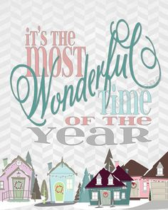 It's the Most Wonderful Time of the Year Song Lyrics - INSTANT DOWNLOAD Printable Print Wall Art with Pink and Grey Chevron and a Christmas Village, by Jalipeno, $5.00. Perfect as home or office decor for the holidays & Christmas, or GREAT as a last-minute gift since it is an INSTANT DOWNLOAD! Check the shop for more printable quotes and holiday decor! www.etsy.com/shop/Jalipeno