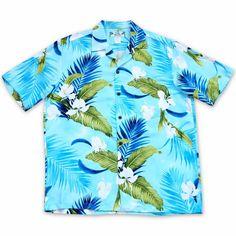 b8cb3518 Always made in Hawaii at Lavahut! Ginger Breeze Blue Hawaiian Rayon Shirt  #islandstyle #