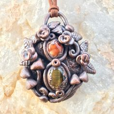 carnelian and tigers eye copper pendant- electroformed jewelry- metal jewelry- gemstone pendant- mushroom pendant- earthy pendant- hippie by EarthLustDesigns on Etsy https://www.etsy.com/listing/498141832/carnelian-and-tigers-eye-copper-pendant