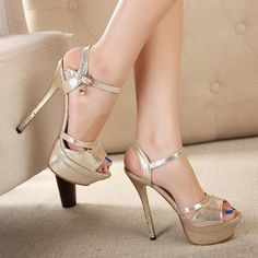 Platform Peep Toe Ankle Wrap Stiletto High Heels Sandals Club Shoes