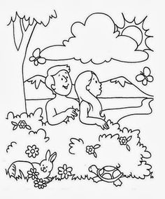 adam and eve coloring page for preschoolers - creation memory verse coloring sheet from the creation