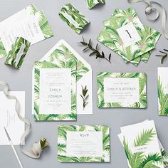 wedding stationery Collections | Lucy Says I Do luscious tropical palm tree design