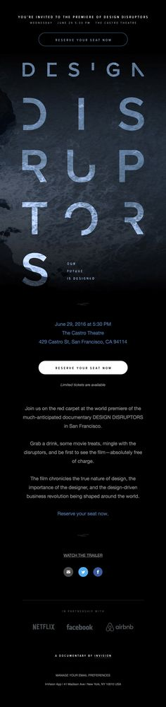 You're invited to the world premiere of DESIGN DISRUPTORS - Really Good Emails