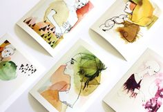 I love these drawings with pen and watercolours(?) by DaWanda