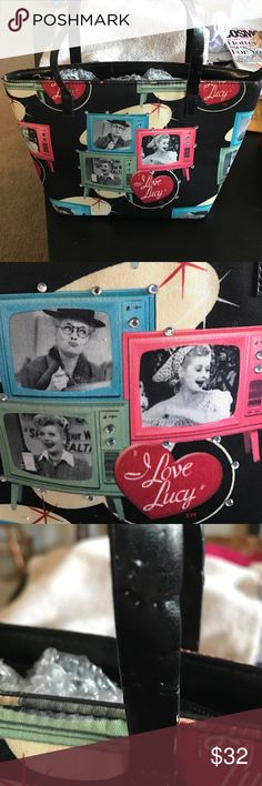 "Lucy purse I love Lucy purse vintage and in 8/10 condition. Small nibble marks from a puppy on straps. Not noticeable when carried. Has some sparkle added. Bottom in excellent condition with silver pegs. Small bag with pocket in silky lining that is in perfect condition. Gorgeous bag for ""I love Lucy"" lovers like me. i love lucy Bags Totes"